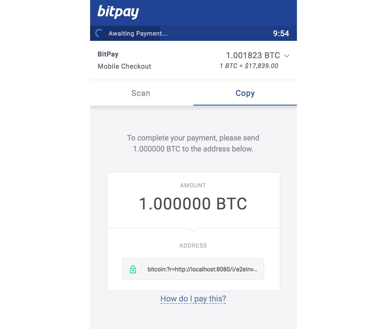 Can now pay bitpay