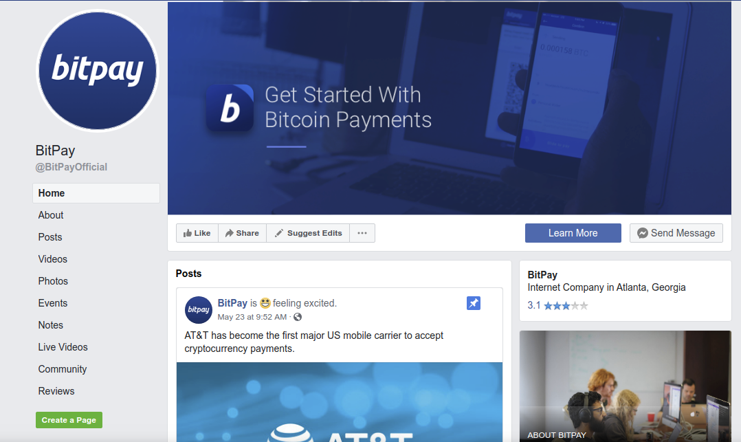 BitPay's Facebook Page