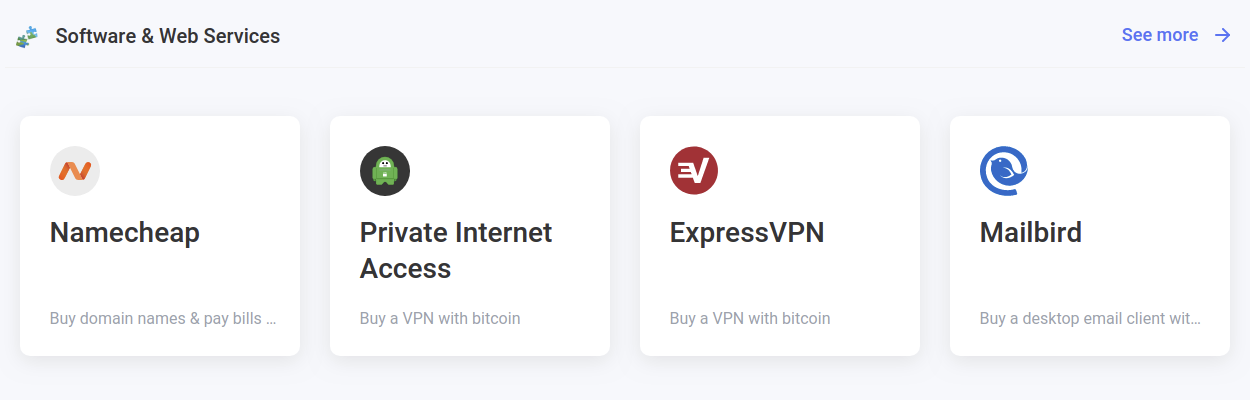 Buy your sofware and internet services with your bitcoin