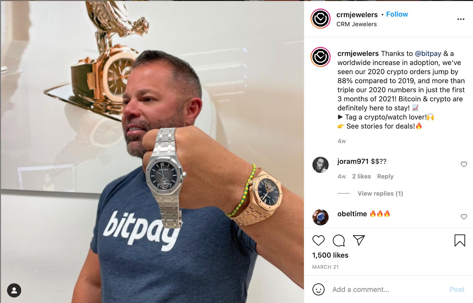 CRM Jewelers showcasing a watch on Instagram